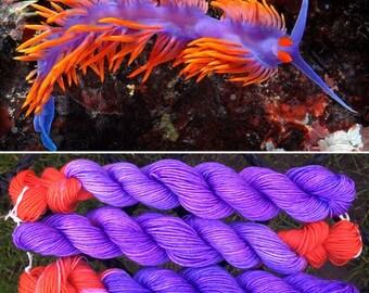 Flabellina iodinea 100g UV reactive merino nylon nudibranch inspired sea slug sock yarn