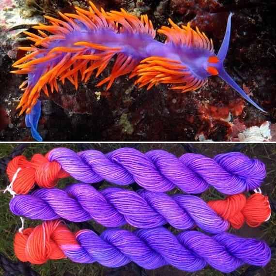 Flabellina iodinea 20g Mini Skein merino nylon nudibranch inspired sea slug sock yarn
