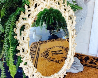 SALE...Vintage Lrg. Ornate White & Gold  Mirror, Syroco, Ivory, Floral/Scroll, Oval Mirror, Hollywood Regency, French Country, Shabby Chic