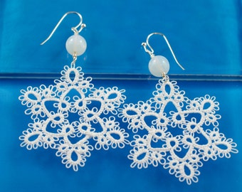 White Lace Snowflake Tatted Earrings