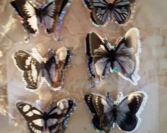10 SILVER GREY and BLACK shiny  3D butterfly foil crafting stickers decal embellishments decoration scrapbooking and cardmaking