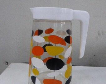 Carafe multicolored pop motifs vintage 1970