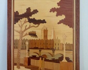 Vintage Marquetry Inlaid Wood Plaque by Antonio Salzano - London Scene