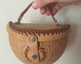 Vintage Coconut Purse, Hand Made