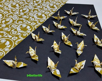 "100pcs Gold-white Colored 1.5"" Snowflake & 4 Leaf Clover Origami Cranes Hand-folded From 1.5""x1.5"" Paper. (WR paper series). #FC15-51."