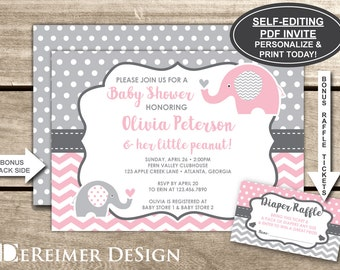 Elephant Baby Shower Invitation, Pink, Gray, Little Peanut, Self-Editing PDF File, Instant Download + Bonus Diaper Raffle Tickets