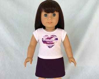 Purple Camo T-Shirt and Skirt for American Girl/18 Inch Doll