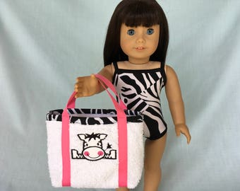 Zebra Bathing Suit and Beach Bag for American Girl/18 Inch Doll
