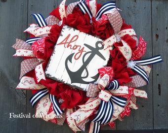 Summer Wreath - Coastal Wreath - Front Door Wreath - Coastal Decor - Anchor Wreath