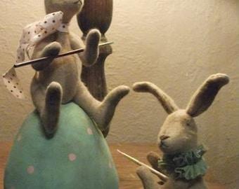 Primitive Bunny Rabbit Dolls Painting Eggs