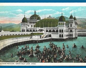 Vintage Postcard -  Swimmers Bathing Near The Saltair Pavilion at The Great Salt Lake in Utah  (2169)