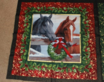 Christmas, Horse Themed Fabric Pillow Panels