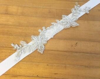 White Beaded Vine Lace Headband
