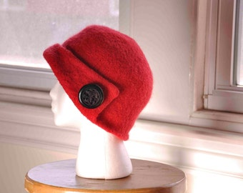 Felted women's wool hand-knit hat in bright red--cloche--asymmetrical flap--large vintage button--1920s Downton Abbey-Crimson Cloche