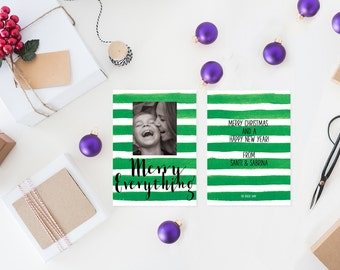 Holiday Cards / Watercolor Christmas Green Stripes Christmas Cards