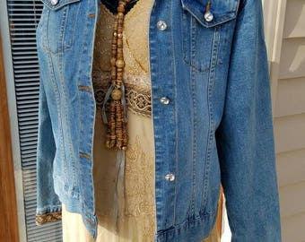 Shabby Chic Gypsy Cowgirl Jeans Jacket with beaded trims