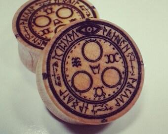 Mark of samael silent hill laser engraved maple woodplugs (pair)