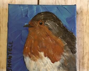 Robin- Bird Painting- Bird Art- Wildlife Art- Robin Painting- Robin Art- Bird on Canvas- Nature Art- Bird Lover Gift- Bird Decor- Birds- Art