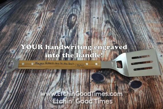 BBQ Spatula - Personalized Handwriting bottle opener Grill Spatula with 2 Bottle openers Burger Flipper,  Fathers day, Groomsmen, House Gift