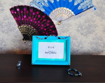 Bohemian Picture Frame/Blue Picture Frame/Blue 4x6 Frame/Hippie Picture Frame/Flower Power/Groovy Picture Frame/Retro Picture Frame/Beaded