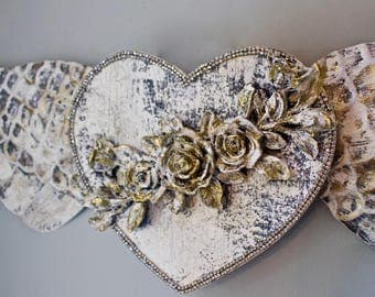 Large Angel Wings Wall Decor Gold Silver White Rhinestone Heart Roses Flowers Vintage Spiritual Boho Shabby Country French Nordic Farmhouse