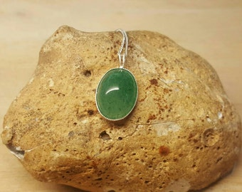 Sterling silver Green Aventurine Pendant Necklace. Reiki jewelry uk. Semi precious stone pendant 18x13mm