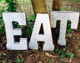 EAT Sign/Large EAT Sign/Kitchen EAT Sign/Metal Letters/Galvanize Metal/Oversize Metal Letter/Wall Letters/Farmhouse/Rustic/Large Letters