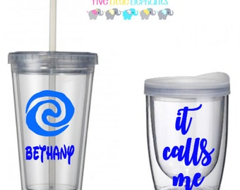 It calls me, Moana cup, ocean cup, beach cup, seashore tumbler, Disney inspired Moanna personalized cup