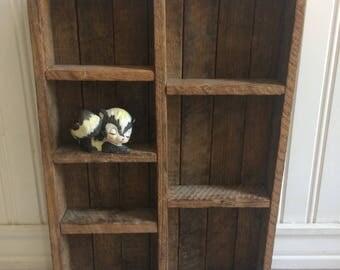 Display Box, Wooden Shadow Box, Rustic Wood Shelf, Primitive Shelf