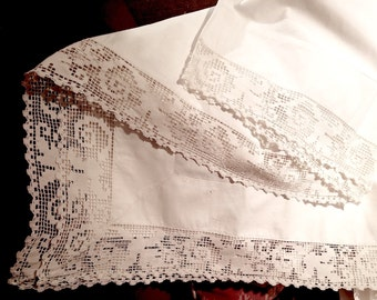 Antique Italian Linen Sheet and pillowcase from 1800s