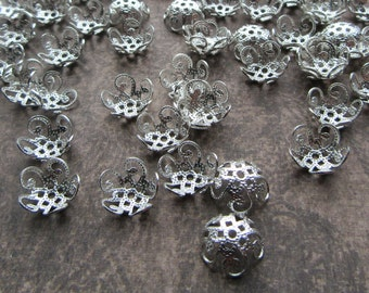 100 Brass Filigree Bead Caps Silver Colour for 10mm Beads