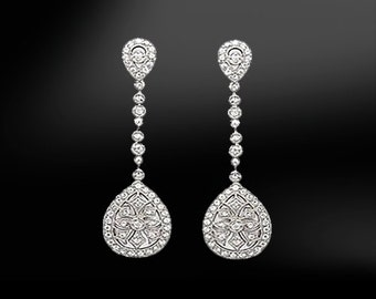 Gold DIAMOND or Silver ZIRCON Drop Earrings