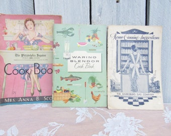 Vintage 1930s Cookbook Pamplets, Waring Blender Cook Book, The Philadelphia Inquirerer Cook Book Home Canning, Pre - WW II Housewife Recipes