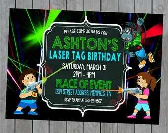 Laser Tag Invitation - Laser Tag Birthday - Laser Tag Party - Laser Tag Birthday Invitation
