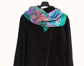 Hand painted habotai silk scarf - Carré pongée de soie peint à la main