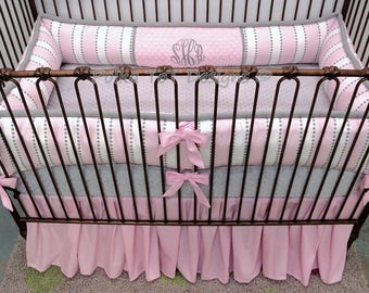 Pink & Grey Baby Girl Bedding : Sheena