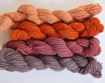 mini skeins, merino singles, hand dyed, natural dyes, madder, lac, cochineal, alder