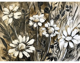 Abstract landscape /black and white daisies