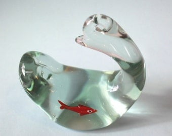 Glass Art Duck with Gold Fish Inside