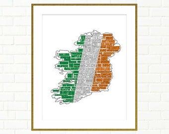 "Ireland Map, Map of Ireland, Ireland Decor, St Patricks Day, Irish Flag, Map, Ireland Wall Art, Instant Download, Ireland, 8x10"", 11x14"""