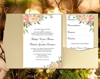 """Pocket Wedding Invitations """"Jasmine's Garden"""" Peach, Pink, Mint and Sage Green -- Five DIY Printable Templates Print as many as you require!"""