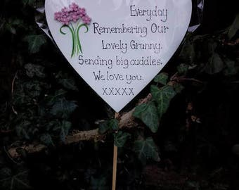 Grave Ornament, Mum, Grandma, Mothers Day, outdoor Memorial Heart- LARGE 15CM