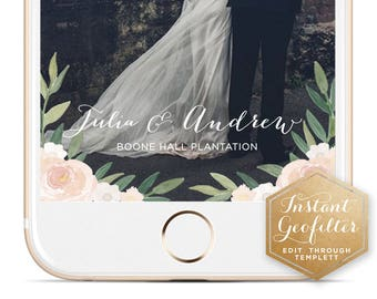 Ivory Floral Watercolor Wedding Snapchat Geofilter | Custom  Geofilter | Birthday  Geofilter | Bridal Shower Geofilter | Instant Geofilter