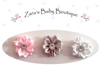 Baby Snap Clips * Girls Hair Clips * Small Clips *Flower Hair Clips * Pink Silver White * Clippies * Baby Toddlers * Zara's Baby Boutique