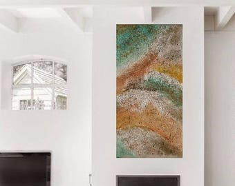 Texture Painting ABSTRACT Artwork Original Painting Abstract 24x48 Earthtone Painting Modern Fine Art Neutral Abstract Painting Modern Art