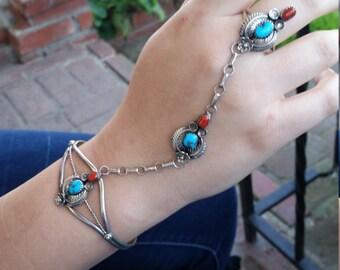 Vintage Navajo handmade slave bracelet /ring sterling silver, turquoise and coral