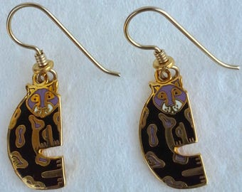 Dangle earrings, snow leopard cloisonné,  gold plated, Laurel Burch