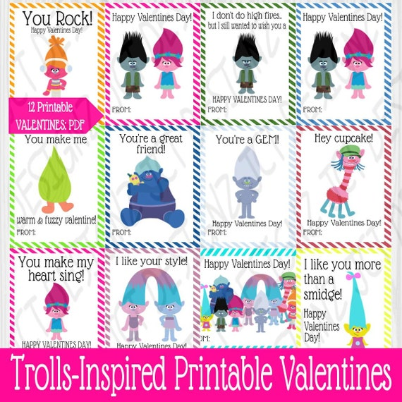 Trolls Printable Kids Valentine Cards