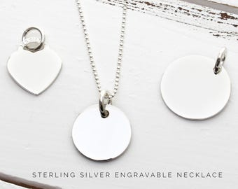 Personalised Necklace   Name Necklace   Sterling Silver Necklace   Silver Charm Necklace   Gift ideas for her