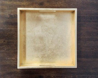 Gold Leaf Lacquer Tray with Handles, Serving Tray, Ottoman Tray, Decorative Tray
